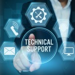 Businessman pointing icon of Technical support customer concept,